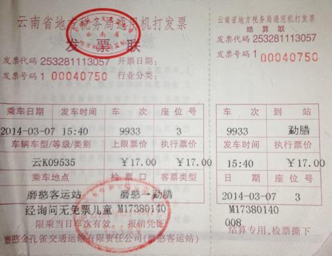 Китайский билет на автобус