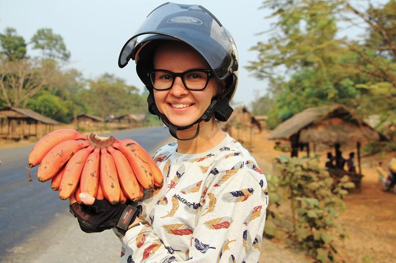 Красные бананы Лаос